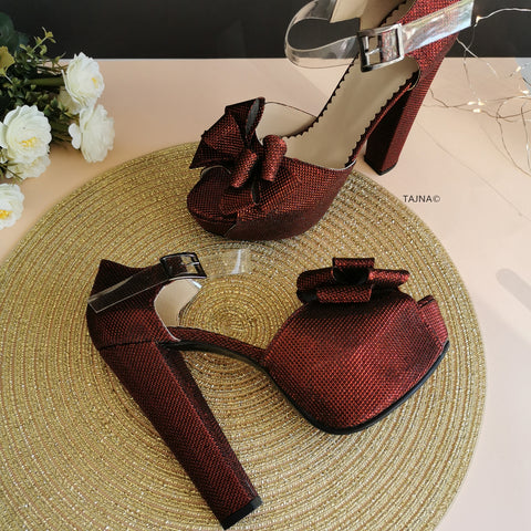Burgundy Ribbon Transparent Strap Platforms - Tajna Club