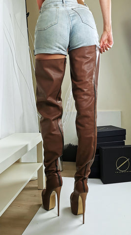 Thigh High Brown Genuine Leather Boots - Tajna Club