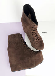 Brown Suede Lace Up Platform Wedge Booties - Tajna Club