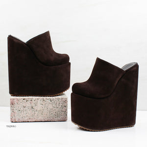 Brown Sabo Platform Heel Wedge Mules - Tajna Club