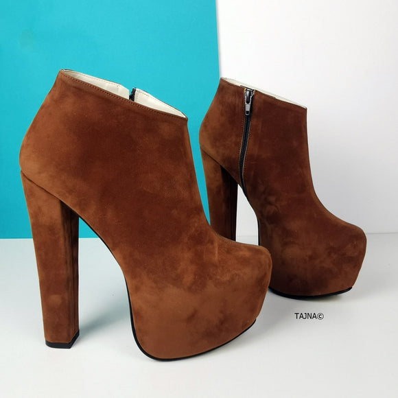 Tobacco Brown Ankle Platform Booties - Tajna Club