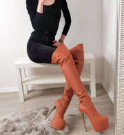 Tobacco Over Knee High Heel Boots - Tajna Club