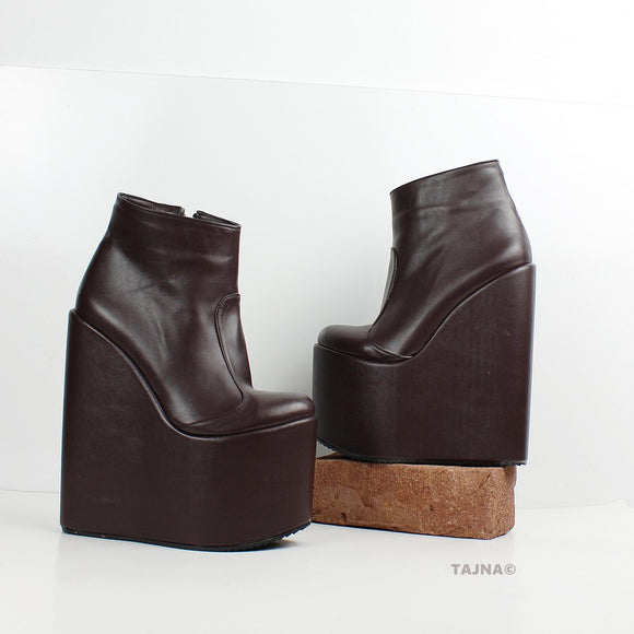 Brown High Heel Wedge Booties - Tajna Club