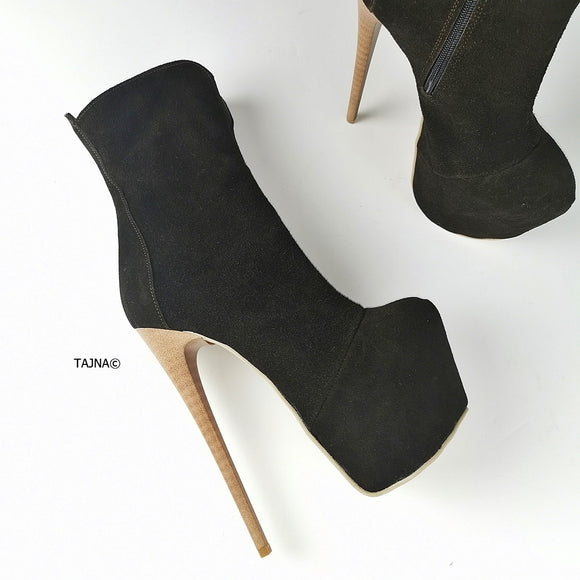 Dark Chocolate Suede Platform Boots - Tajna Club