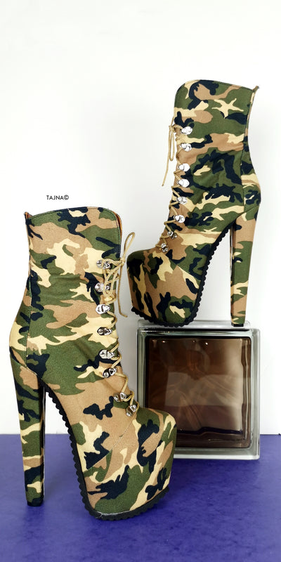 Camouflage Lace up Military Styler Boots - Tajna Club