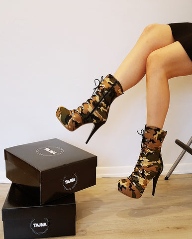 Camouflage Lace Up Heel Boots - Tajna Club