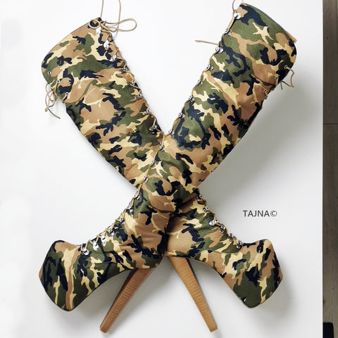 Camouflage Lace Up Over The Knee Boots - Tajna Club