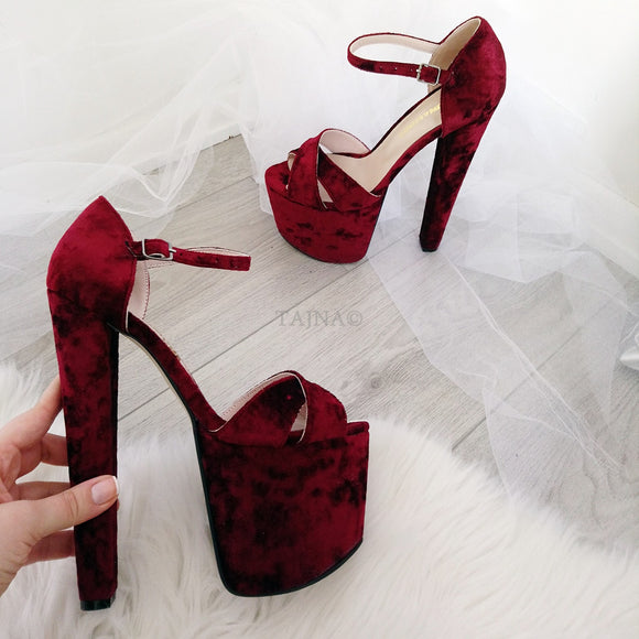 Claret Red Cross Strap Peep Toe High Heel Platform Shoes - Tajna Club