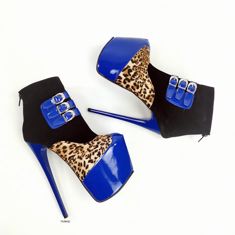 Blue Gloss Leopard Detail Ankle Heel Boots - Tajna Club
