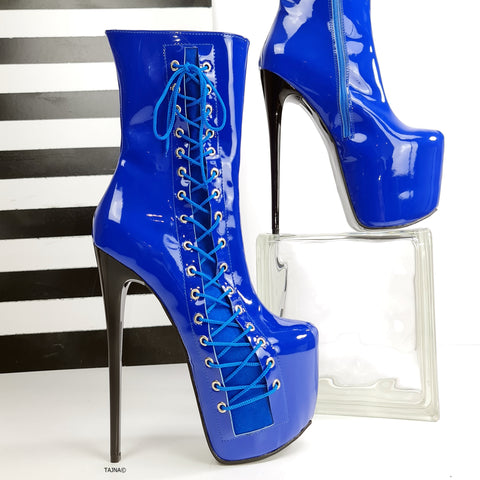 Saxe Blue Gloss Corset High Heel Boots - Tajna Club
