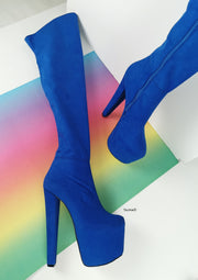 Cobalt Blue Suede Thigh High Boots - Tajna Club