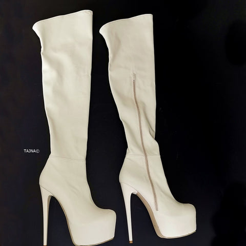 Cream Strech Thigh High Platform Boots - Tajna Club