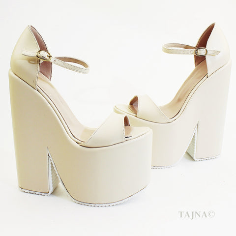 Single Strap Platform Cream Wedge Bridal Shoes - Tajna Club