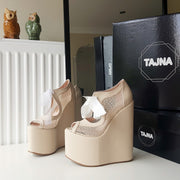 Cream Nude High Heel Wedge Platform Shoes - Tajna Club