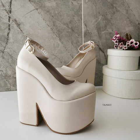 Cream Ankle Strap High Heel Wedges - Tajna Club