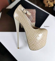Cream Croco Ankle Strap Heels - Tajna Club
