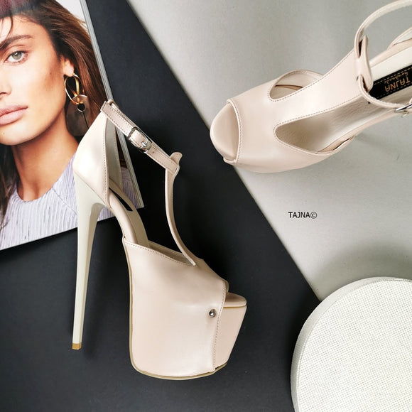 Cream Nude T-Strap High Heels - Tajna Club