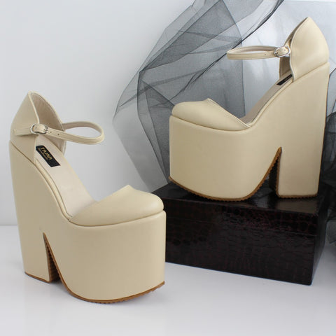 Cream Nude Strap High Heel Wedges - Tajna Club