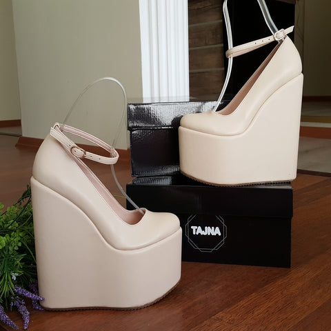 Ankle Strap Cream Super High Heel Wedge Shoes 20 cm - Tajna Club