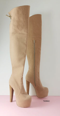 Cream Beige Suede Knee High Boots - Tajna Club