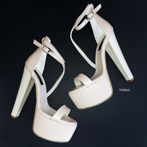 Cream Nude Thin Strap Platforms - Tajna Club