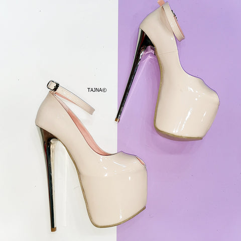 Nude Patent Fishmouth High Heels - Tajna Club