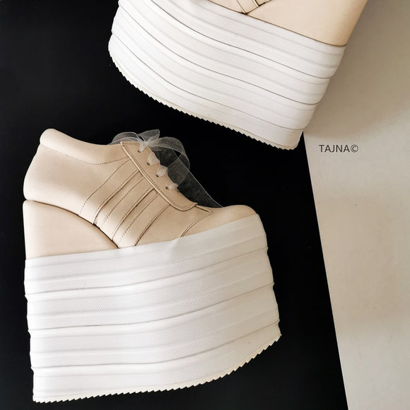 Cream Sport Lace Up High Heel Wedges - Tajna Club