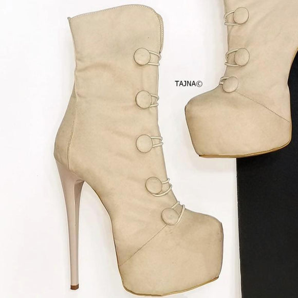 Cream Suede Button Boots - Tajna Club