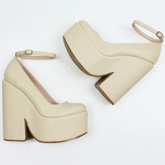 Cream Ankle Strap Wedge Shoes - Tajna Club