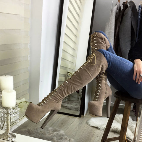 Beige Lace Up Over The Knee Boots - Tajna Club