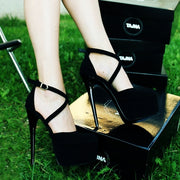 Black Cross-Banded High Heeled Platform Shoes - Tajna Club