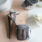 Dark Silver Platform Sandals - Tajna Club