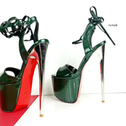 Emerald Green Glossy High Heel Sandals - Tajna Club