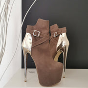 Dark Beige Golden Detail Boots - Tajna Club