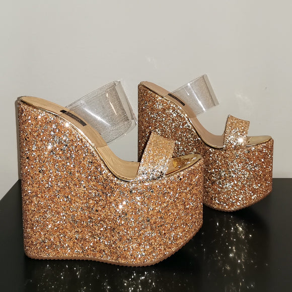 Golden Glitter Transparent Wedge Mules - Tajna Club