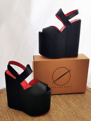 Black Red Extra Heel Wedge Sandals - Tajna Club