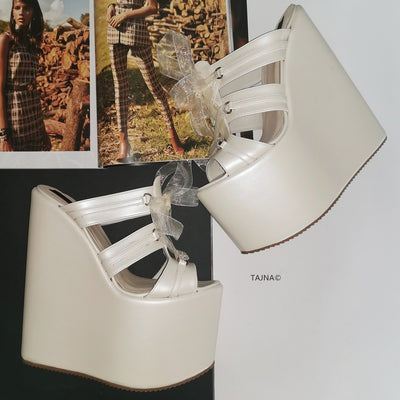 Ivory Lace Up Extra High Wedge Mules - Tajna Club