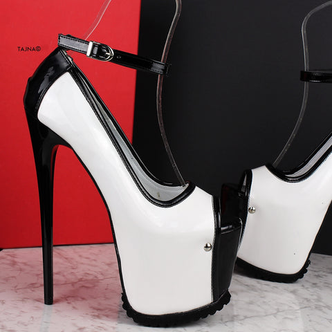 Serrated Sole White Black Ankle Strap Heels - Tajna Club