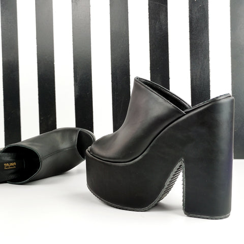 Black Matte Open Toe Wedge Platform Mules - Tajna Club