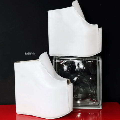 White Extreme Heel Wedge Mules - Tajna Club