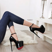 Ankle Strap Black Patent Hidden Platform - Tajna Club