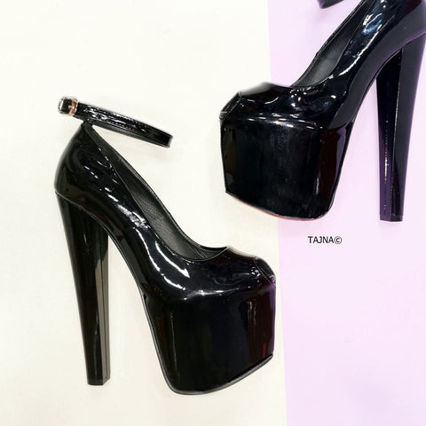 Chunky Heel Fishmouth Black Patent - Tajna Club