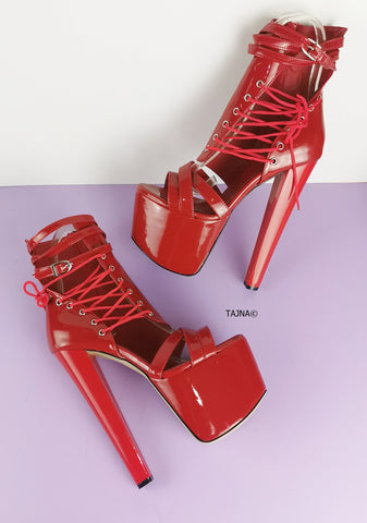 Red Patent Side Lace Ankle Platforms - Tajna Club