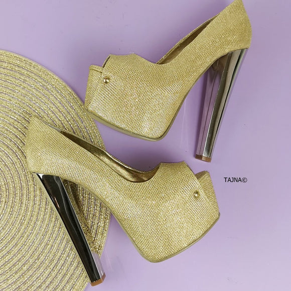 Gold Shimmer Peep Toe Pumps - Tajna Club