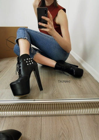 Pinned Black Lace Up Platform Ankle Booties - Tajna Club