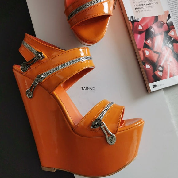 Orange Patent Zipper Detail Wedges - Tajna Club