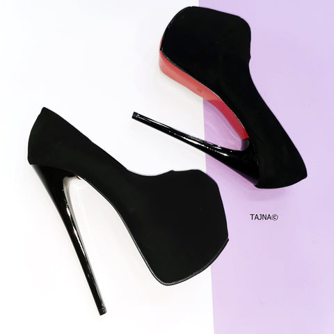 Fishmouth Black Suede Thin Heel Platforms - Tajna Club