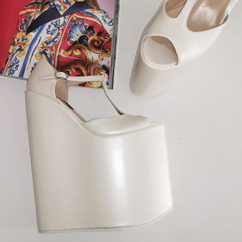 Ivory Extereme High Mega Bridal Wedges - Tajna Club