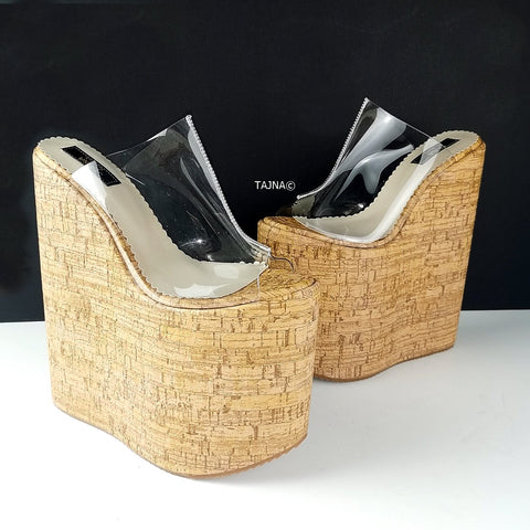 Transparent Cork Platform Wedge Mules - Tajna Club