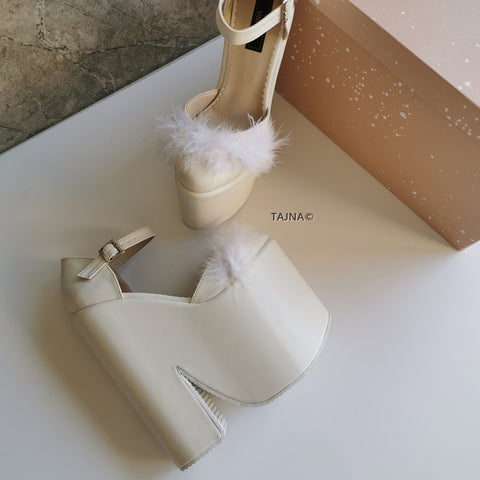 Cream Fury Ankle Strap Platform Bride Wedges - Tajna Club
